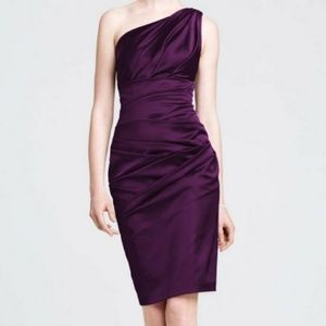 Davids Bridal Purple One Shoulder Bridesmaid Dress